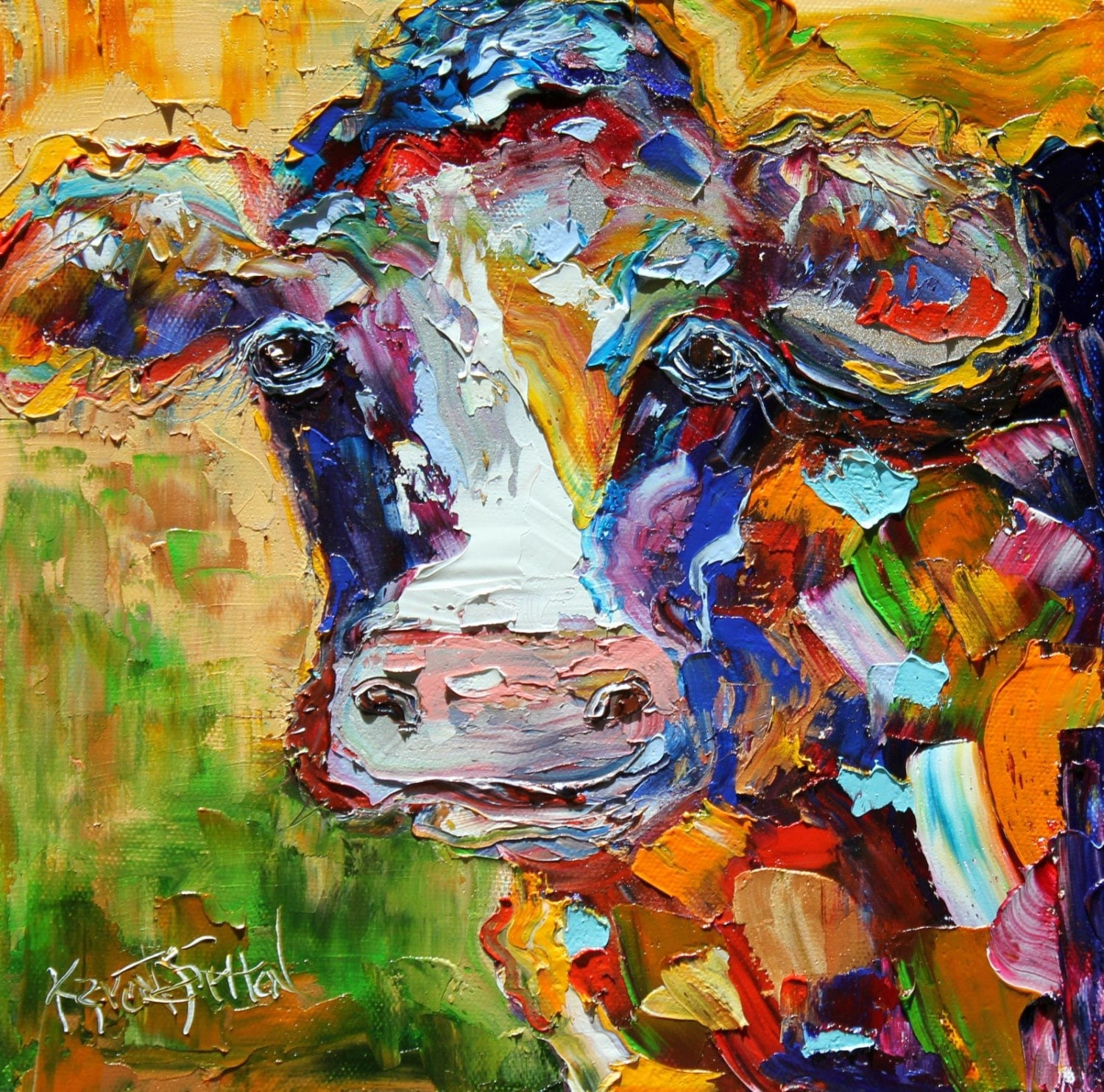 Colorful cow print on canvas 24 x 24 made from for Cow painting print