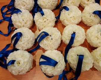 Set of 10 Cream/Ivory Silk Rose Pomanders