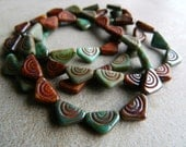 Picasso Tribal Bead Mix, Picasso Czech Glass Beads, Etched Triangular Glass Beads, 12 x 7mm, Turquoise and Brown & Picasso Mix (60pcs) NEW