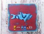 License Plate Artwork Shark Beach Ocean Nautical Aqua Blue Navy Personalized Name Boy Car Custom Nursery Playroom Art Recycled States