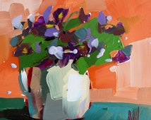 Violets in Creamer Print by Angela Moulton 10 x 10 inches prattcreekart floral art purple flowers