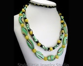 Green Mother of Pearl, Yellow Jade, Black Pearls, Necklace, Black Chain, Double Strand, Gemstone, Cultured Freshwater, Multi Color, Jewelry