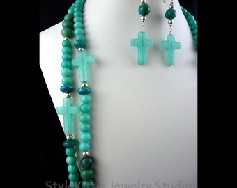 Amazonite Quartz, Chrysocolla, Blue Jasper, Aqua Jade, Long Double Strand, Cross Necklace, Dangle Earring, 925 Sterling Silver, Layered Set