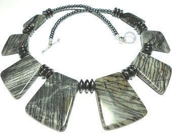 Gray Jasper Collar Necklace Cleopatra Style 50 Shades of Gray Striped Jasper Bib Collar Statement Necklace with Sterling