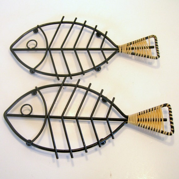 fish wire art fish auto wiring diagram database mid century black metal fish trivets black fish wall trivet on fish wire art