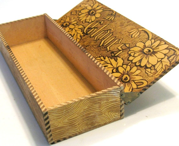 Wooden Glove Box ~ Antique glove box pyrography decorated wood