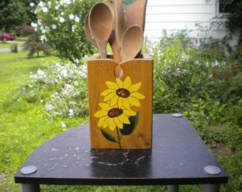 Sunflower utensil holder, wood utensil holder, acrylic painting, sunflower painting, handcrafted box, utensil caddy, kitchen decor, wood box