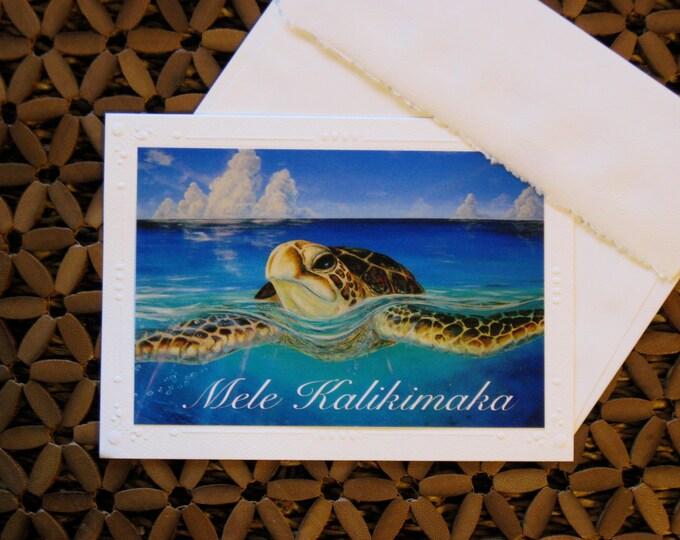 "SET OF 5, 10 or 20 Mele Kalikimaka Cards, Hawaiian Christmas Card, Honu Hawaiian Sea Turtle, Tortuga Art Print Cards  ""Peace of the Tropics"""