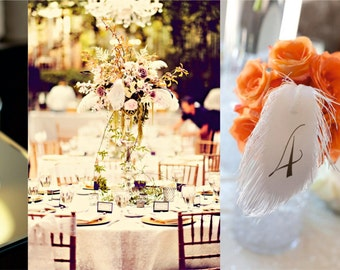 Wedding table numbers FEATHERs with wire stems for flower arrangement
