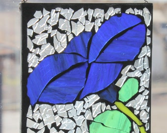 Blue  Morning glory mosaic ,Stained Glass SunCatcher or wall Decoration