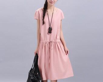 Maxi Dress Loose Fitting Sundress Short Sleeve Summer Dress in Pink