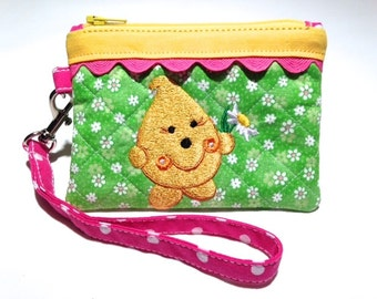 Daisy Parker Wristlet - Quilted Case Embroidered in Green Pink and Yellow