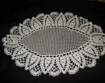 White Oval Doily