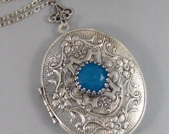 Seabreeze,Locket,Antique Locket,Silver Locket,Bird,Aquamarine,Blue,Ocean,Water.Swarovski,Princess Cut.Blue Stone,Aqua, Valleygirldesigns.