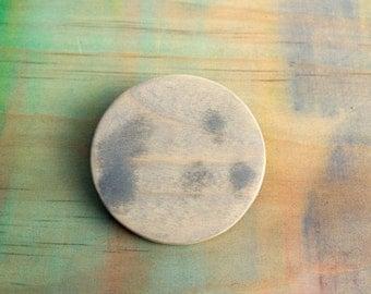 full moon wooden brooch