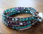Triple wrap crystal bead bracelet - silver teal purple
