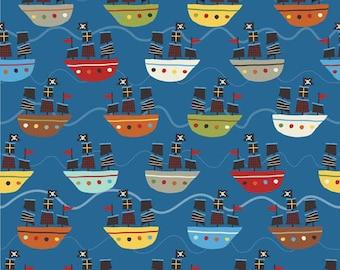 Treasure Boats in navy - 1/2 yard