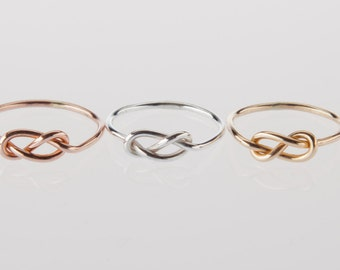 One ring, Infinity knot ring, 16g, choose silver, rose, yellow, engagement, promise, wedding, bridesmaids, valentines day