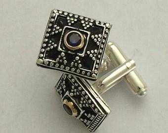 Two tone Men's cuff links, silver gold cuff links, unique cuff links, square cuff links, sapphire corundum cuff links - Royal Blue C0293X