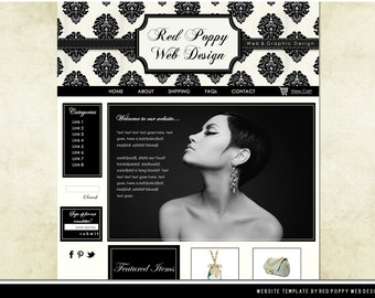 Premade Boutique Website Template, French Lace Cream Black Elegant Web Design, Web Site Template, Paris Chic!
