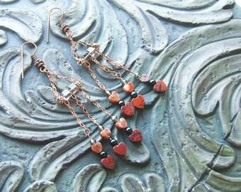 Poppy Jasper, Onyx On Copper Chandelier Earring -Three of a Kind- Burnt Orange, Copper, Gray