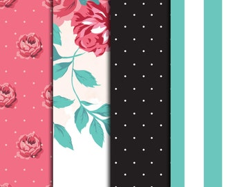 Roses and Teal Pattern Sheets