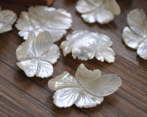 White Mother of Pearl Shell Flowers 30-40mm Unique Shape for Brooch -(V1125)/ 4pcs