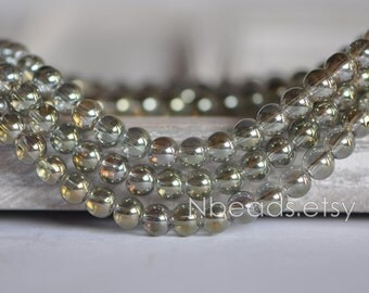 Glass Smooth Round beads 6mm, Sparkly Crystal beads, Olive Green Olivine (GM010-3)/ 100pcs