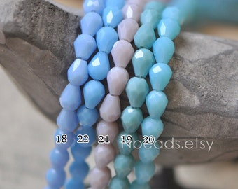 70pcs Faceted Teardrop Crystal Glass Beads 5x7mm - (SS05)