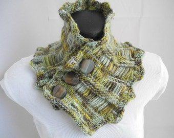 Variegated Green Neck Warmer with Buttons