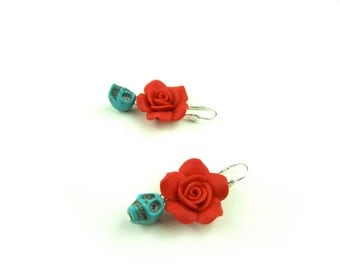Blue Skulls and  Red Flowers earrings
