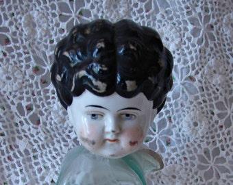 Vintage Frozen Charlotte, Doll Head, Large Frozen Charlotte  / Bisque Doll Head / Porcelain Doll Head
