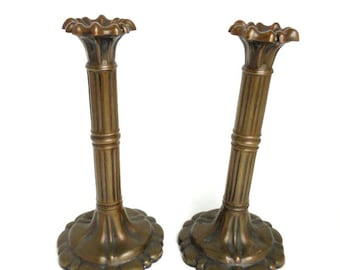 Antique Edwardian Pair Cast Copper Candlesticks Flower Shaped Tops Circa 1820/  Edwardian Era Copper Candlesticks/ Vintage Home Decor