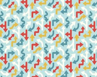 "CRUISER BLVD ARROWS Blue ~ 100% Cotton Fabric ~ 1/2 Yard Cut ~ 18"" x 43"" Riley Blake Designs by Sheri McCulley Studio ~ c3222 Blue"