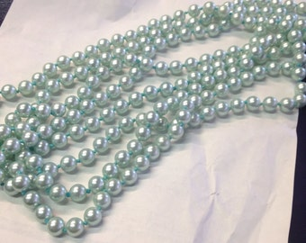 """Vintage 90"""" Frosted Blue Faux Pearl Necklace"""