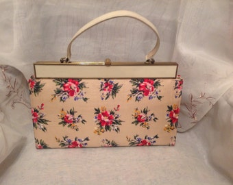 Vintage Melbourne Floral 60s Handbag Preppy Fashion Style Traditional Shabby Chic Pocketbook