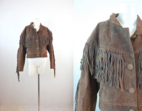 c1980's Vintage Chocolate Suede Leather Fringe Jacket M/L