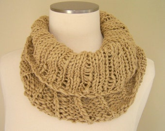 Pima Cotton Knit Cowl, Light Khaki Knit Neckwarmer, Chunky Knit Cotton Cowl, Tan Knit Circle Scarf, Infinity Neckwarmer, Spring Trends
