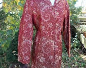 Red Silver brocade jacket from the 90s holiday new years coat