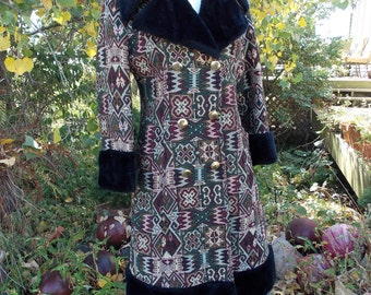 1970s hippie tapestry jacket faux fur collar cuffs hem almost famous winter coat