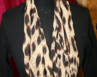 Tan Chocolate Brown Black Skin Print Jersey Infinity Scarf - Circle Scarf - Cowl- Fabric- Knit - Washable