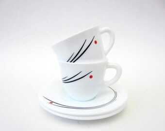 Milk glass COFFEE CUP⎮Harmonia Spain⎮red point black lines⎮mid century modern⎮set of 2
