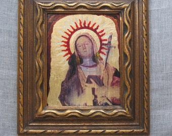 Vintage Religious Painting of Madonna, Female Portrait, Portraiture, Icon, Original Fine Art, Larry Bauer, Cleveland, Virgin, Religion