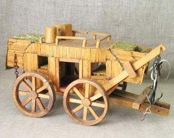 Folk Art , Stagecoach , Tramp Art , Handmade , Transportation , Western , Antique , Folk Art Match Stick , Stage Coach , Rustic Decor