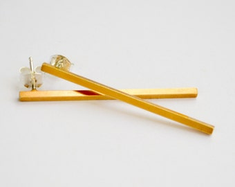 Long Gold Bars - Gold Minimalist Drop Earrings - Simple Long Square Bar Studs - Gold Dangle Ear Bar - Geometric Jewelry - Hook and Matter