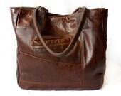 Upcycled Brown Leather Tote Handbag