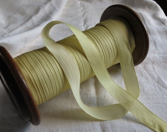 "Vintage FRENCH Silk Ribbon Trim Hand Dyed YELLOW 15/16"" wide ~By the Yard"