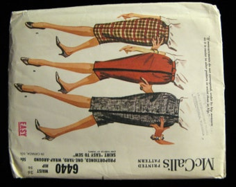 Vintage 60s Mccalls Slim Wrap-Around Skirt Pattern 6440, UC and FF 26-inch Waist