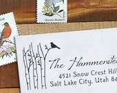 Custom Address Stamp, Address Stamp, Wedding address stamp, Calligraphy Address Stamp, Self inking or Eco Mount stamp - Birch and Bird