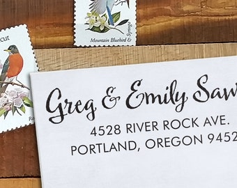 Custom Address Stamp, Return Address Stamp, Wedding address stamp, Self inking or Eco Mount stamp, Calligraphy Stamp - Sawyer 2